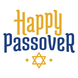 Happy passover yellow blue lettering