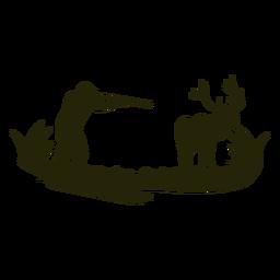 Silueta de hombre caza ciervos
