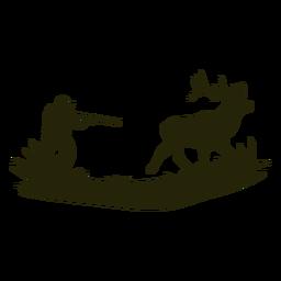 Homem de silhueta de veado de caça