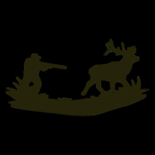 Homem silhueta caçando cervo