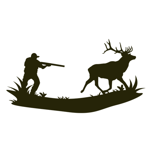 Hunting deer silhouette man Transparent PNG
