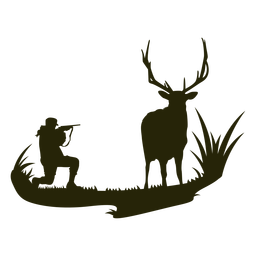 Hunting deer woman silhouette