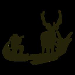 Silueta de mujer caza ciervos