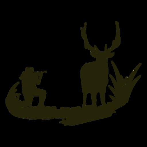 Hunting deer woman silhouette