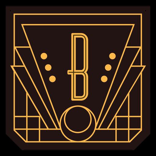 Banner de art deco de letra b