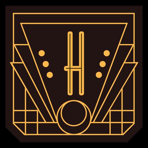 Banner de art deco de letra h