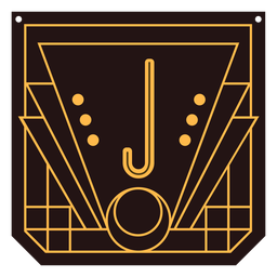Buchstabe j Art-Deco-Banner