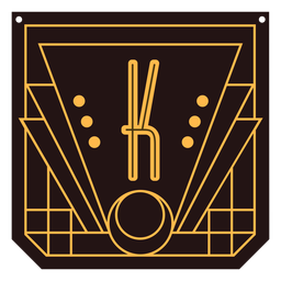 Buchstabe k Art-Deco-Banner