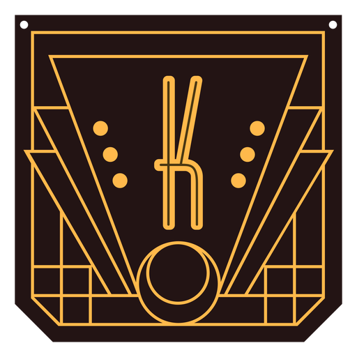 Banner de letra k art deco Transparent PNG