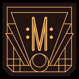 Buchstabe m Art-Deco-Banner