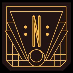 Buchstabe n Art-Deco-Banner