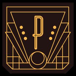 Letter p art deco banner