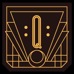 Buchstabe q Art-Deco-Banner