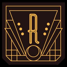 Banner de art deco de letra r