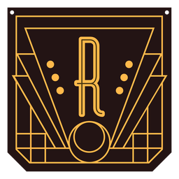 Letter r art deco banner