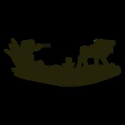 Homem caçando silhueta de veado