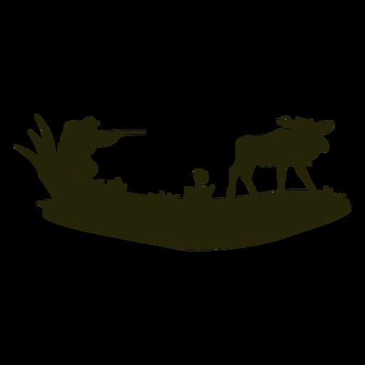 Hombre cazando ciervos silueta