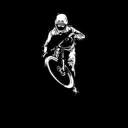 Homem desenhado em mountain bike