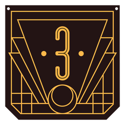 Number 3 art deco banner