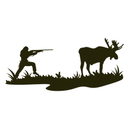 Pistola puntiaguda caza ciervos silueta