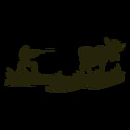 Silueta de ciervo de caza puntiaguda