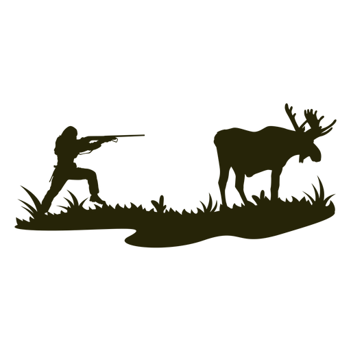 Pointed gun hunting deer silhouette Transparent PNG