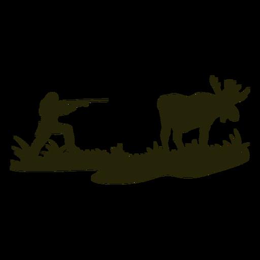Pointed gun hunting deer silhouette