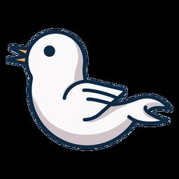Ícone de vista lateral para pássaro branco