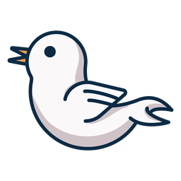 Icono de vista lateral de pájaro blanco