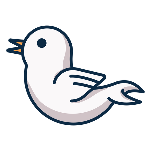 White bird side view icon