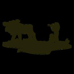Silhueta de caça de veado de mulher