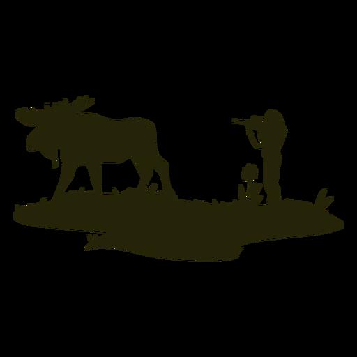Woman deer hunting silhouette