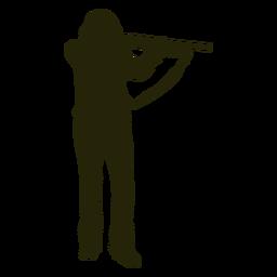 Silhueta de apontador de arma de mulher