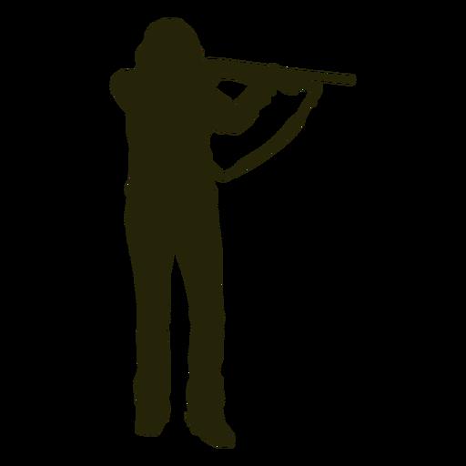 Silueta de mujer arma apuntando