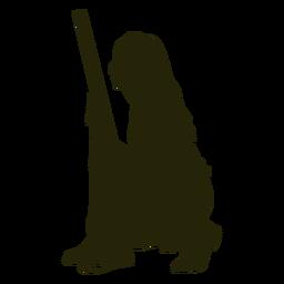 Silueta de mujer cazador arma