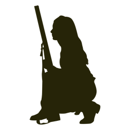 Woman hunter gun silhouette