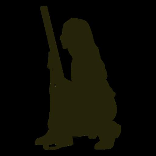 Woman hunter gun silhouette