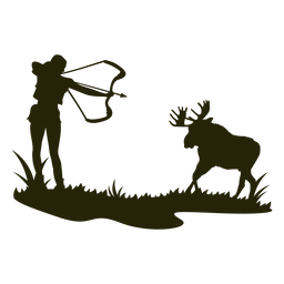 Silueta de ciervo de caza mujer