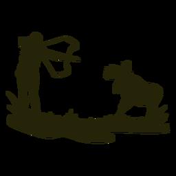 Silueta de mujer caza arco ciervo