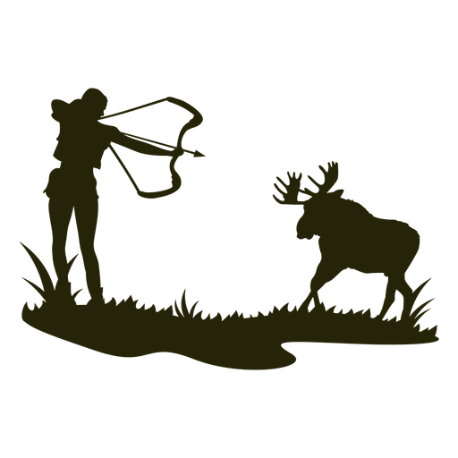 Woman hunting bow deer silhouette Transparent PNG