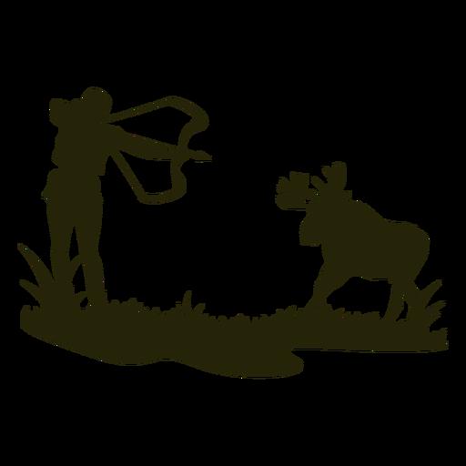 Woman hunting bow deer silhouette
