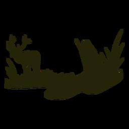 Silueta de mujer cazando ciervos