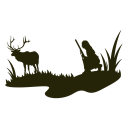 Woman hunting deer silhouette