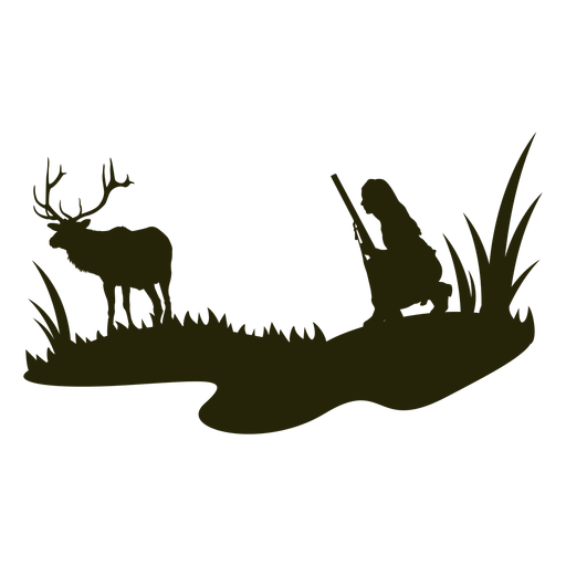 Woman hunting deer silhouette