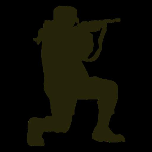Woman kneeling gun silhouette