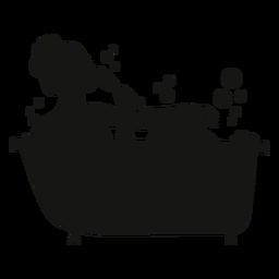Silhueta de mulher com banheira de champanhe