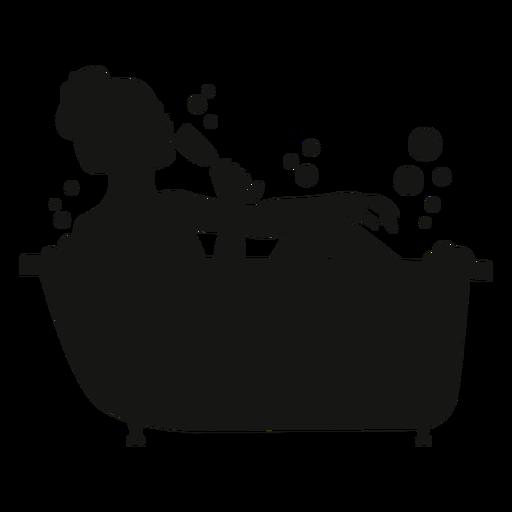 Frau mit Champagnerbadewannenschattenbild