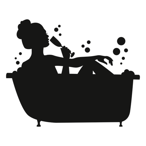 Woman with champagne bathtub silhouette