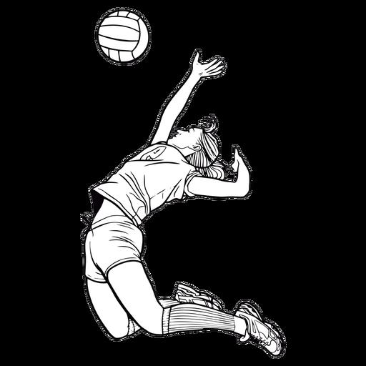 Jugador de voleibol femenino golpe de golpe