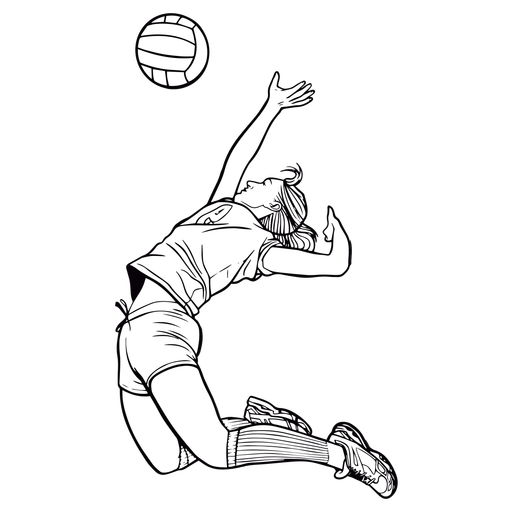 Volleyball player female spiking stroke